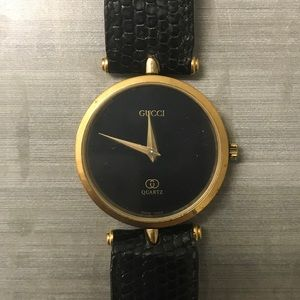 Vintage Gucci Watch - Gold w/ Black Lizard Leather